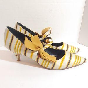 Tory Burch striped satin kitten heels.